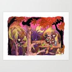 Treehouse Picnic Art Print