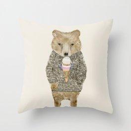 sundae bear Throw Pillow