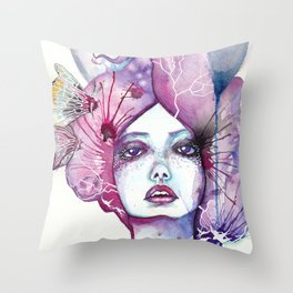 Lady Moon Throw Pillow
