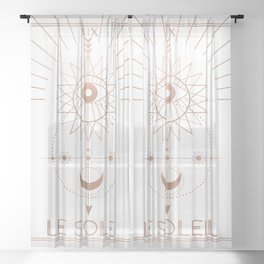 Le Soleil or The Sun Tarot White Edition Sheer Curtain