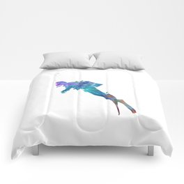 Man scuba diver 02 in watercolor Comforters