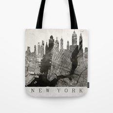 New York Skyline + Map #3 Tote Bag