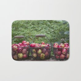 Autumn Apples Rustic Still Life Bath Mat