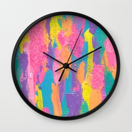 Lisa Frank Rainbow Abstract Painting with Glitter Wall Clock