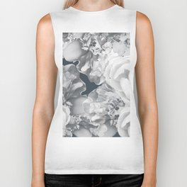 Elegant Peony Bouquet Gray Monochrome #decor #society6 #buyart Biker Tank