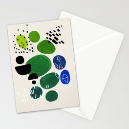 Fun Abstract Minimalist Mid Century Modern Colorful Shapes Lime Green Blue Watercolor Bubbles Stationery Cards
