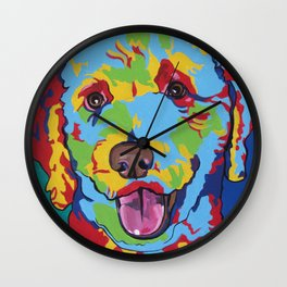 Labradoodle or Goldendoodle Pop Art Dog Pet Portrait Wall Clock