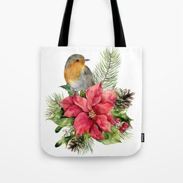 Merry Christmas. Watercolor Tote Bag