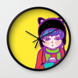Doll face boy with a coffe cup Wall Clock