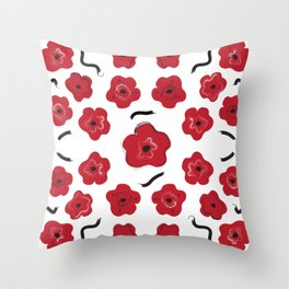 Big Red Flowers Throw Pillow