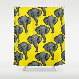 elephant in yellow Shower Curtain