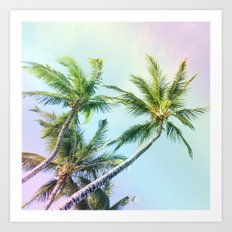 Relaxing Rainbow Color Palms Art Print