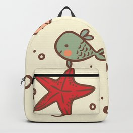 Cute Vintage Style Sea life Seamless Pattern Backpack