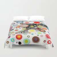 nursery Duvet Covers featuring Whimsical Nursery Happy Circles by Ruth Fitta Schulz