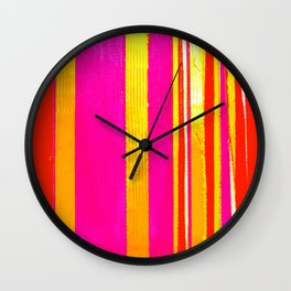 pink red yellow white stripes Wall Clock