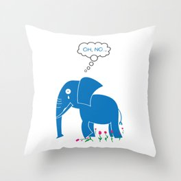 Sad Elephant Throw Pillow