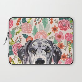 Great Dane florals pet portrait art print and dog gifts Laptop Sleeve