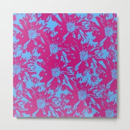 Red Blue Floral Metal Print