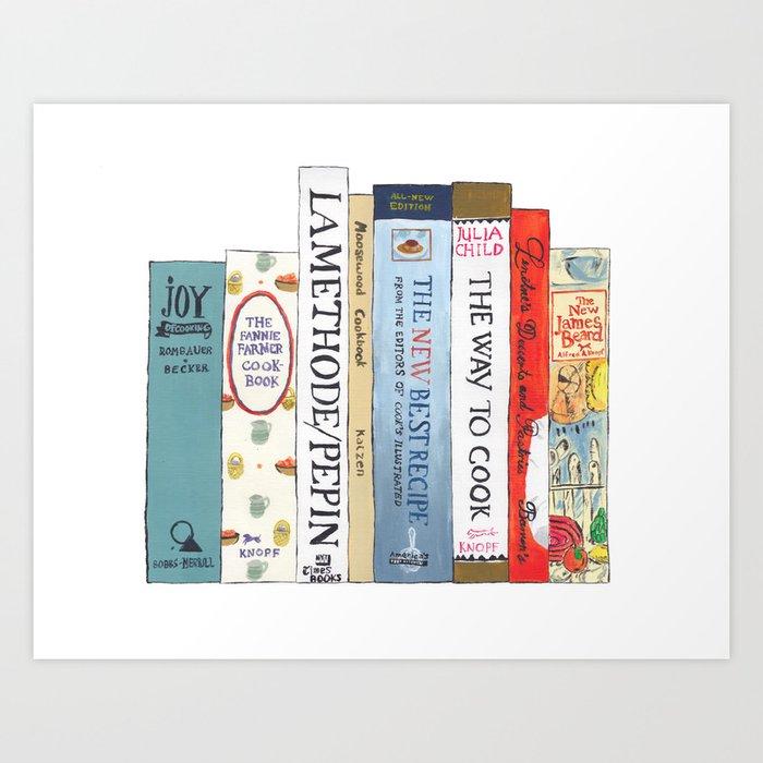 Cookbooks Bookshelf for Cooks & Food Lovers Art Print