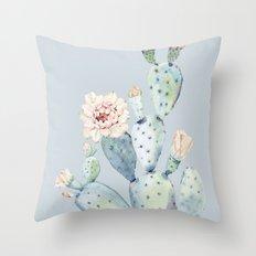 Prettiest Rose Cactus Blue Throw Pillow