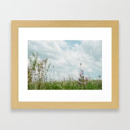 Wildflower Sky - Clouds and Flowers Framed Art Print