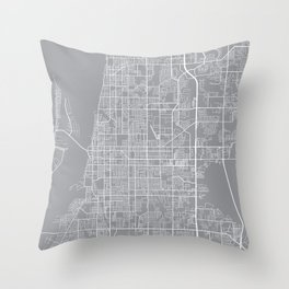 Clearwater Map, Florida USA - Pewter Throw Pillow