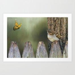 Bird and Butterfly Art Print
