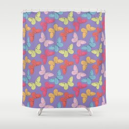 Hand drawn butterfly seamless pattern. Vector illustration. Shower Curtain