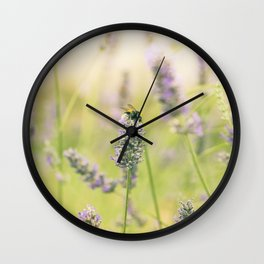 A bee on the lavender Wall Clock