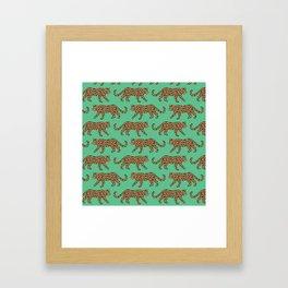 Kitty Parade - Classic on Jungle Green Framed Art Print