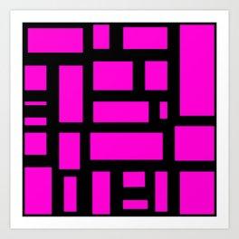Pink and black rectangle pattern  Art Print