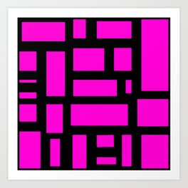 Pink and black rectangle pattern  Art Print