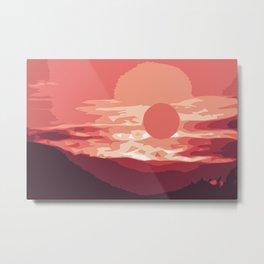 Burning sunset, splendid wild mountain landscape in pink shades Metal Print