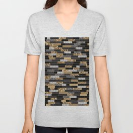 Tiles A Textured Pattern with Gold, Silver and Glitters Unisex V-Neck