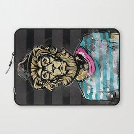 Hipster Lion on Black Laptop Sleeve