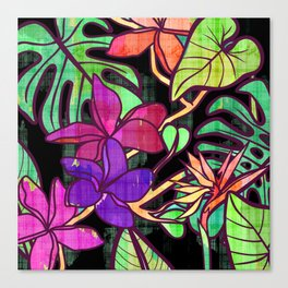 Tropical leaves and flowers, jungle print Canvas Print