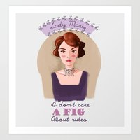 downton abbey Art Prints featuring Lady Mary Crawley Downton Abbey by chiclemonade