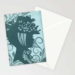 Garden Hat Chic:  Stylish Lady in hat silhouette with turquoise blue and teal Stationery Cards