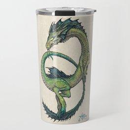 Rain Dragon by Amber Marine ~ Watercolor & Ink dragon/serpent art, (Copyright 2017) Travel Mug