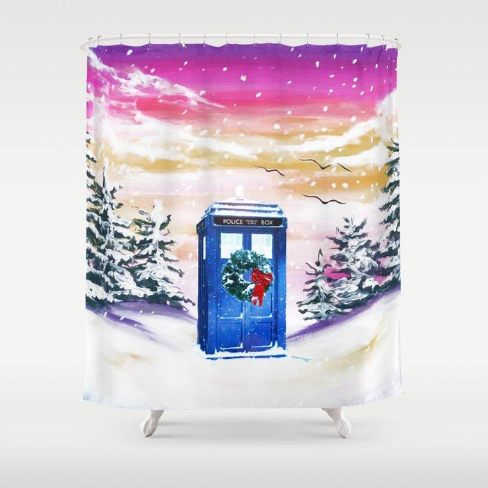 Tardis Frozen Shower Curtain By Albertjunior