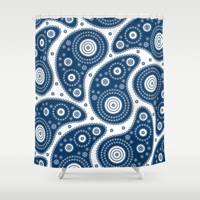 Blue Paisley Pattern Shower Curtain