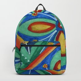 Watercolor Mexican Abstract Floral Art - Tile 5475 Backpack