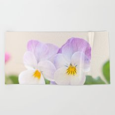 Spring Love #1 - Soft violet-white Pansies #decor #art #society6 Beach Towel