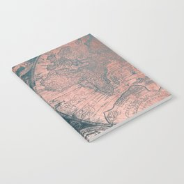 Vintage World Map Rose Gold and Storm Gray Navy Notebook