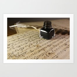 Writing a very old musical score with ink and feather Art Print