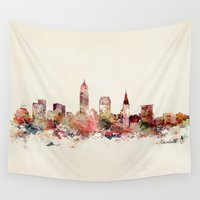 ohio Wall Tapestries featuring cleveland ohio skyline by bri.buckley