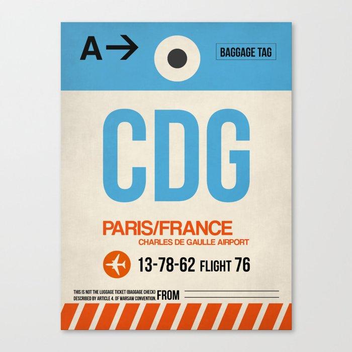 CDG Paris Luggage Tag 2 Leinwanddruck