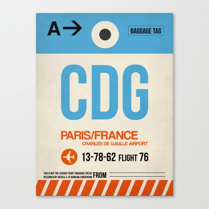 CDG Paris Luggage Tag 2 Leinwanddruck