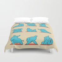 yoga Duvet Covers featuring Elephant Yoga by Huebucket