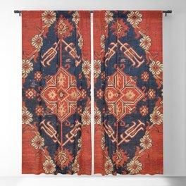 Southwest Tuscan Shapes I // 18th Century Aged Dark Blue Redish Yellow Colorful Ornate Rug Pattern Blackout Curtain